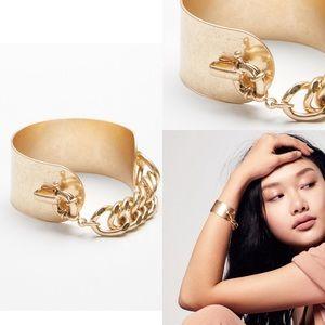 Free People Simple Metal Cuff Bracelet Gold